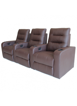 3 Seater Bonded Leather Sofa Manuel Recliner HOME THEATER SEATING Chair Brown