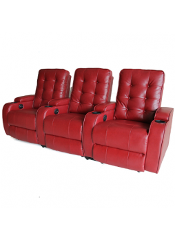 Bonded Leather Sofa Electric Recline Chair Home Theater Seating Row of 3 Red