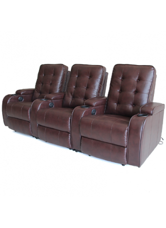 Bonded Leather Sofa Electric Recline Chair Home Theater Chair 3 Seater SCHT-003