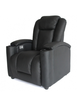 Sofa Electric Recliner Cool LED Lighting USB Chair Home Theater Leather 1 Seater