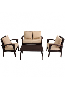 Outdoor Garden Patio Furniture Sofa Suite HONOLULU 4PCS Chair KD Set PE Wicker HS012-B