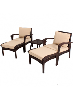 Flat Wicker Outdoor Garden Patio Sofa Suite HONOLULU Chat Chair Table Set 5 PCS HS013-B