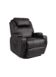 1 Seater Black Bonded Leather Sofa Couch Lounge Manual Recliner Relax Chair Home SCRC-8208
