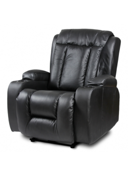 Electric Recliner Chair Leather Rolling Massage Heat Black New SCRC-8220