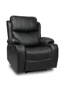 Manual Recliner Chair PU Leather Lounge Couch 1 Seater Black New SCRC-8217