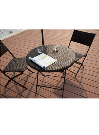 Outdoor Furniture Garden 3PCFoldingTable Chair Set Flat PE Wicker HD007