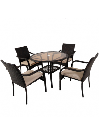 Wicker Outdoor Garden Patio Table Chair KD Dining Sets Suite San Pico 5 PCS Brown HD009-B
