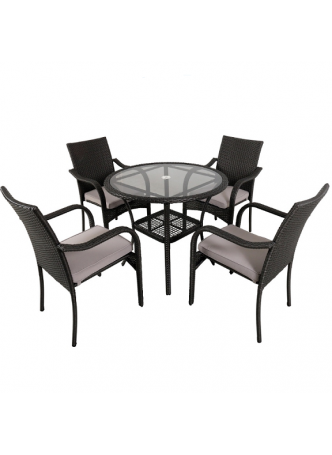 Wicker Outdoor Garden Patio Table Chair KD Dining Sets Suite San Pico 5 PCS Grey HE009-G
