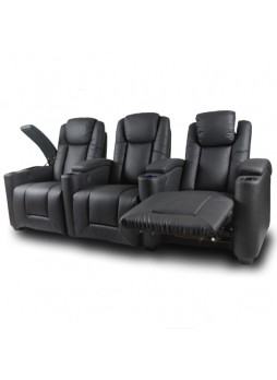 Home Theater Power Recliner LED USB Adjustable Headrest 3Seater Leather