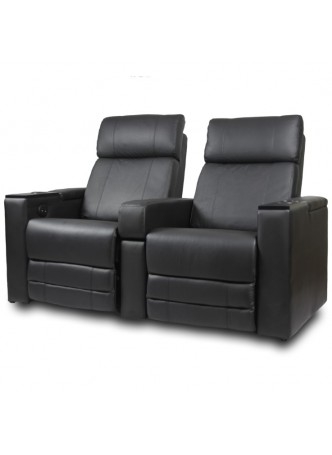 2 Seater Leather Sofa Electric Recliner Home Theater Love Seating Chair Black SCHT-006-2