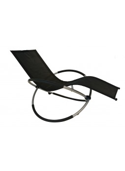 Rocking Chair Sofa Recliner Bed Outdoor Garden Lounger Sun Seat Relaxer Armchair Black
