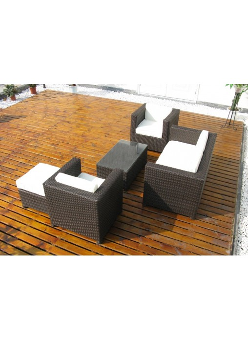 Outdoor Garden Patio Furniture Rattan Wicker Suite Sofa Lounge 5 Set Couch  Frame
