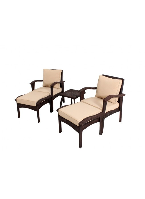 Flat Wicker Outdoor Garden Patio Sofa Suite HONOLULU Chat Chair Table Set 5  PCS