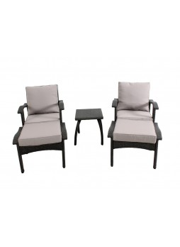 Flat Wicker Outdoor Garden Patio Sofa Suite HONOLULU Chat Chair Table Set 5 PCS Grey HS013-G