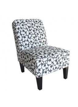 Cafe Lounge Grey & White Ramie cotton Fabric Accent Dining Relax Chair Pub Seats