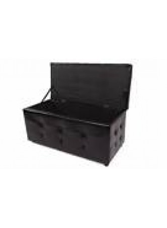 Blanket Box Storage Footrest Stool Bed PU Sofa Lounge Seat French Style Black In Stock